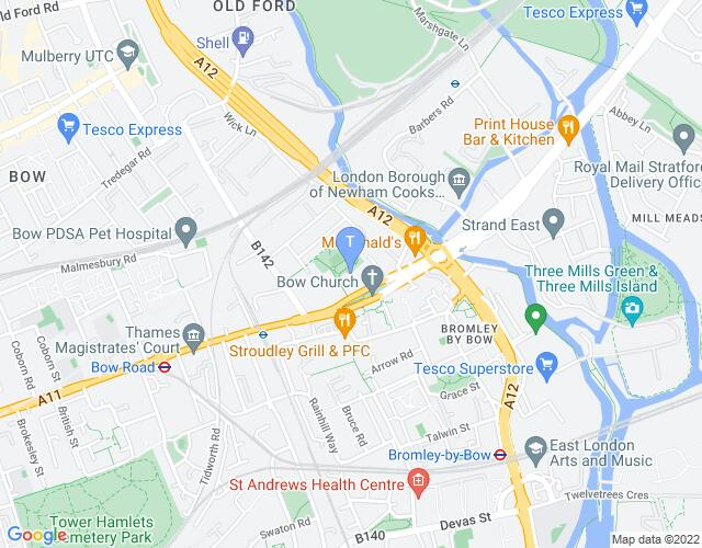 Location map for Bow Arts Courtyard