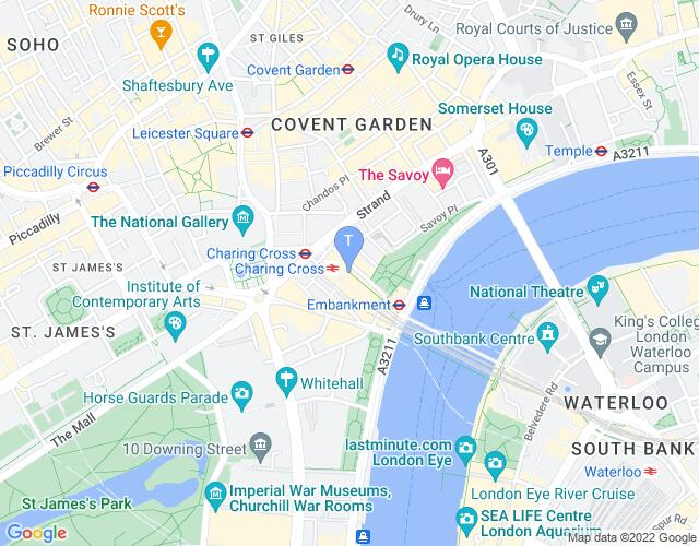 Location map for Charing Cross Theatre
