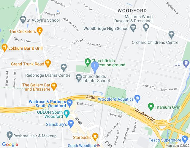 Location map for Redbridge Drama Centre
