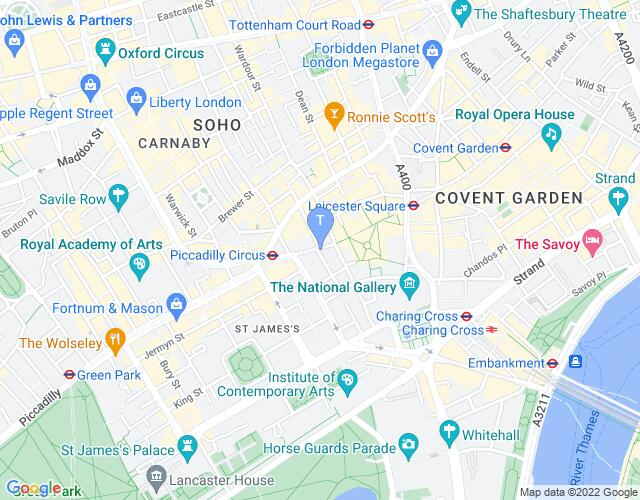 Location map for Prince of Wales Theatre