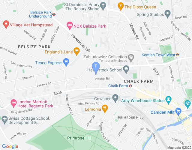 Location map for Hampstead Theatre
