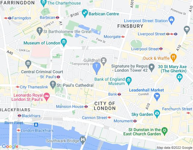 Location map for UK Theare Awards 2019