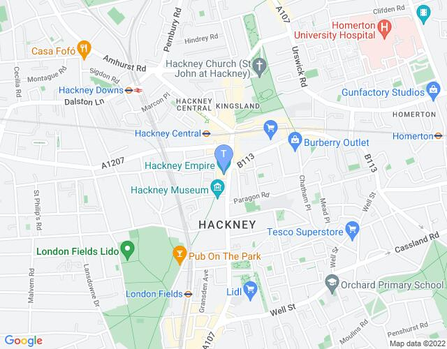 Location map for Hackney Empire