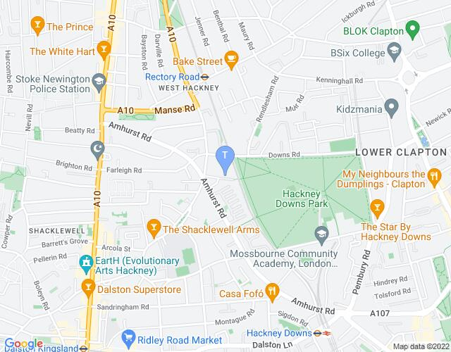 Location map for Hackney Showroom