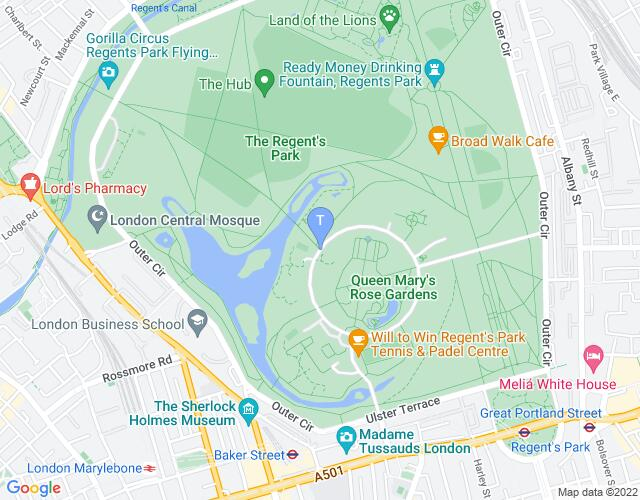 Location map for Regent's Park Open Air Theatre