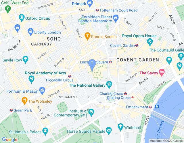 Location map for Christmas in Leicester Square