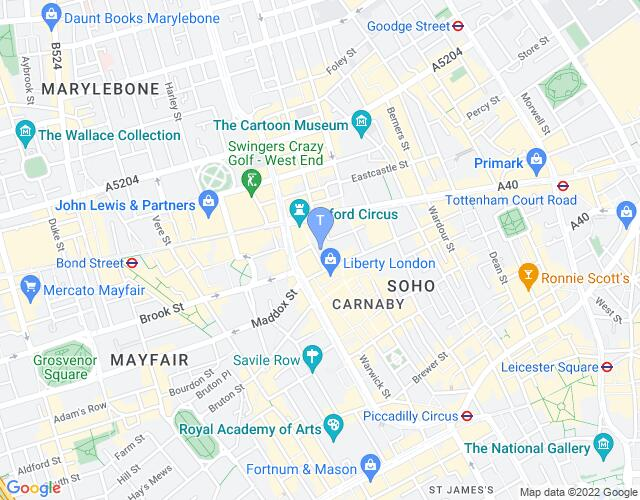 Location map for London Palladium