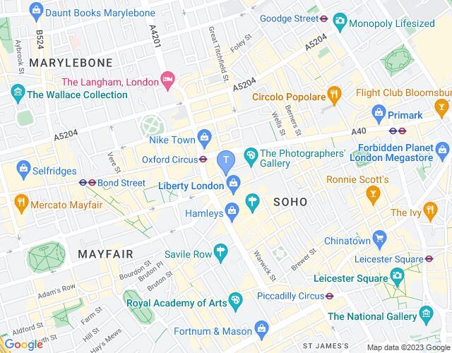 Location map for London Palladium