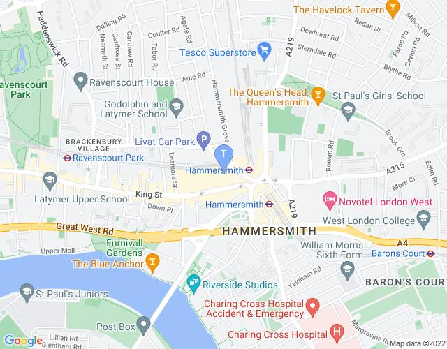 Location map for Lyric Hammersmith