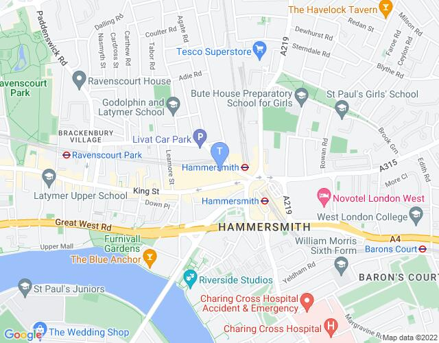 Location map for Lyric Hammersmith