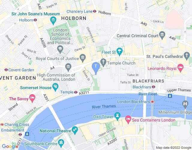 Location map for Middle Temple Hall