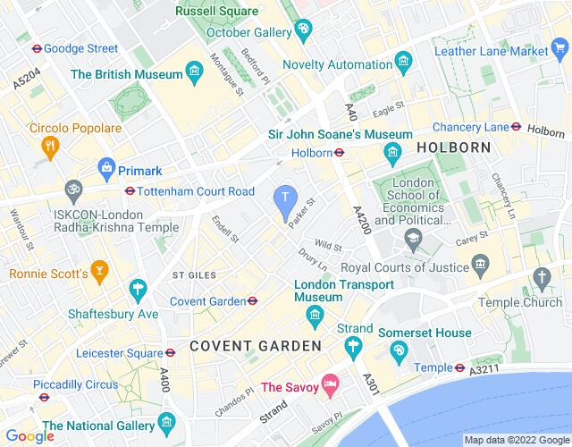 Location map for New London Theatre