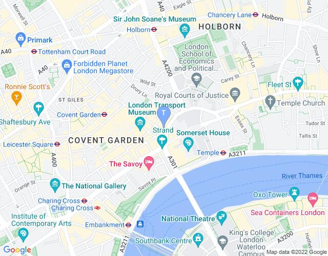 Location map for Novello Theatre