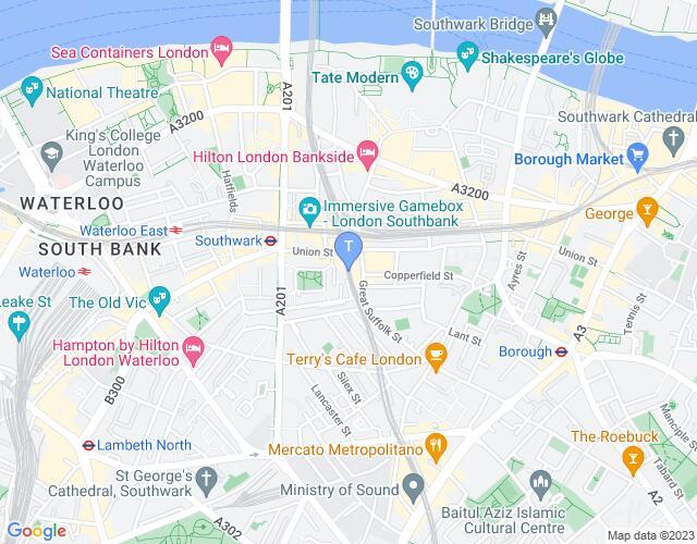 Location map for Cervantes Theatre