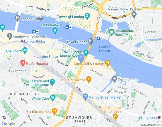 Location map for The Bridge Theatre