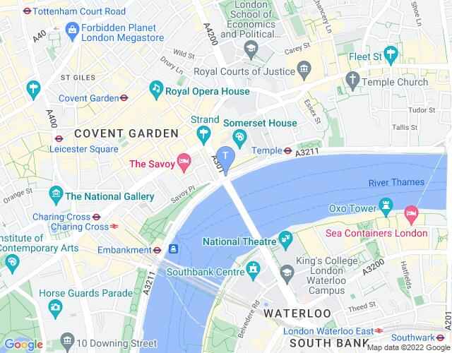 Location map for Proud Embankment