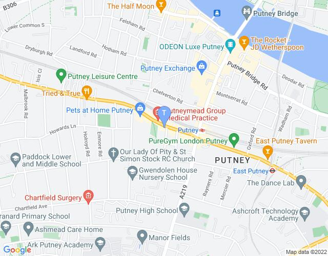 Location map for Putney Arts Theatre