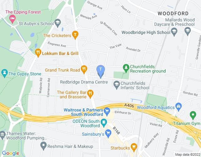 Location map for Redbridge Drama Centre