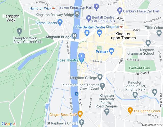 Location map for Rose Theatre Kingston