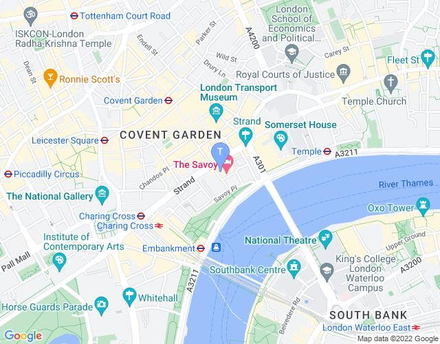 Location map for Savoy Theatre