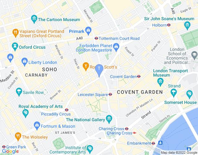 Location map for Palace Theatre