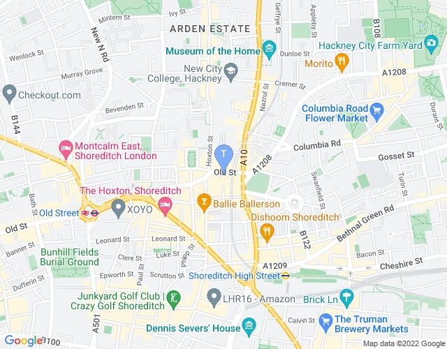 Location map for Shoreditch Town Hall