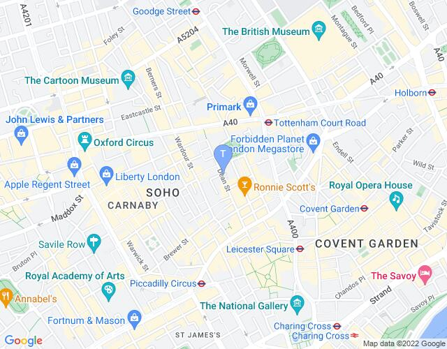 Location map for Soho Theatre