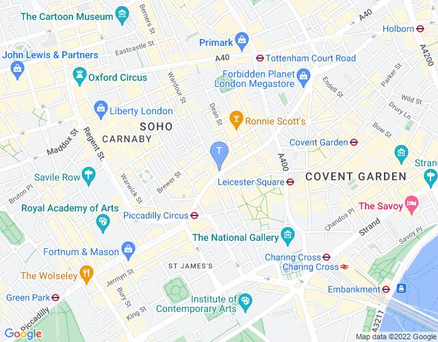 Location map for Sondheim Theatre