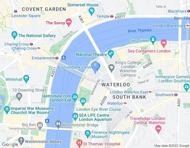 Location map for Southbank Centre - Royal festival Hall