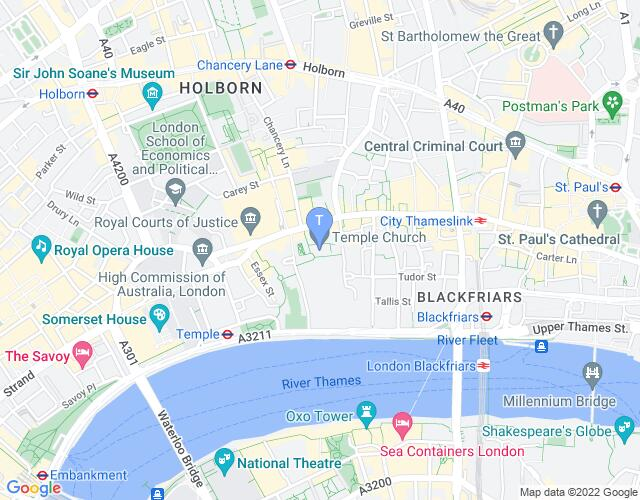 Location map for Temple Church