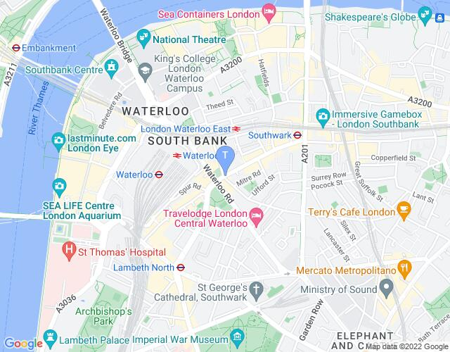 Location map for The Old Vic