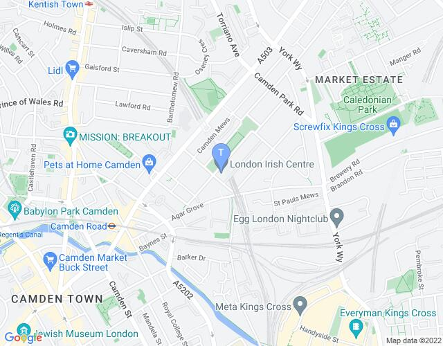 Location map for The London Irish Centre