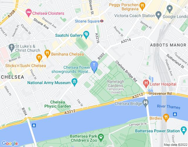 Location map for The Royal Chelsea Hospital