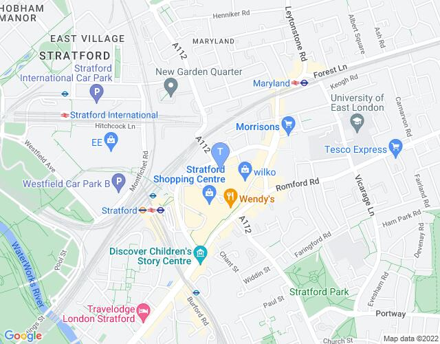 Location map for Theatre Royal (Stratford East)