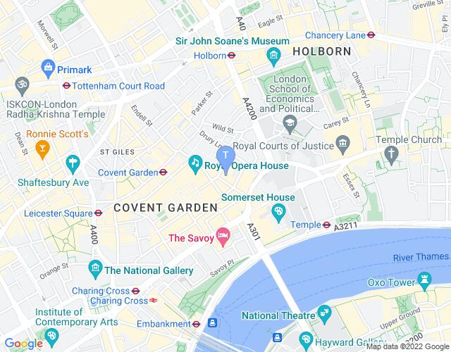 Location map for Theatre Royal Drury Lane