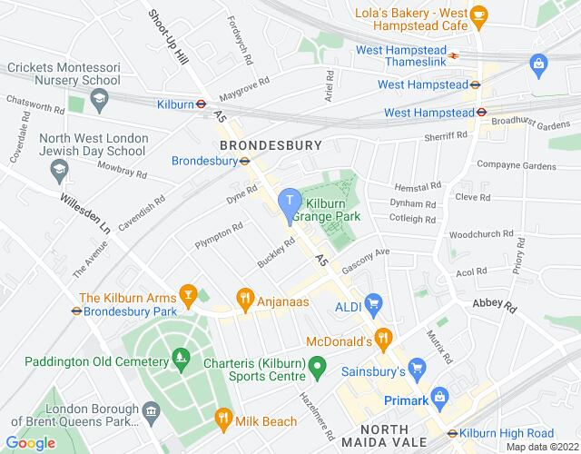 Location map for Tricycle Theatre