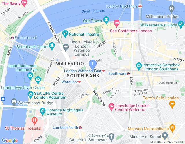 Location map for Waterloo East Theatre