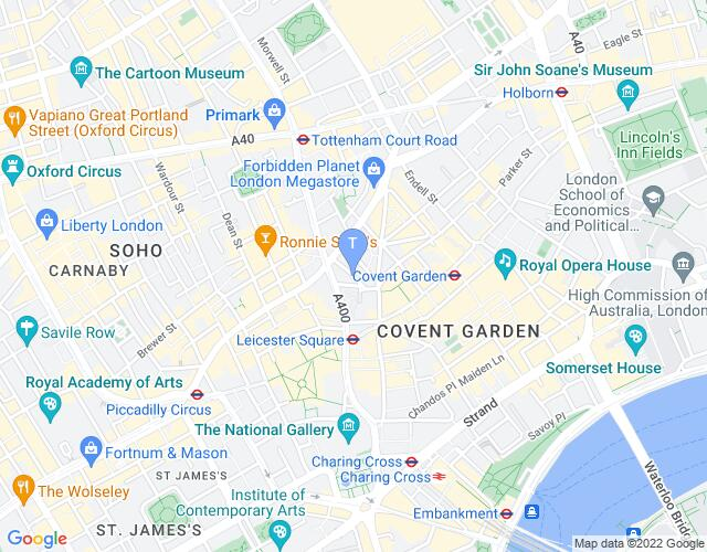 Location map for Ambassadors Theatre