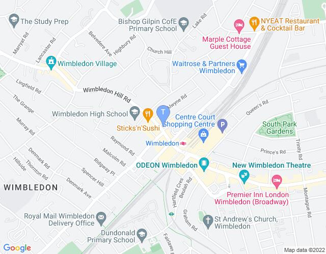 Location map for Wimbledon Library