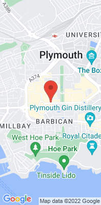 Map showing the location of the Plymouth Royal Parade monitoring site