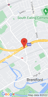 Map showing the location of the Hounslow Roadside [Closed] monitoring site