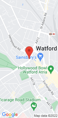 Map showing the location of the Watford Town Hall monitoring site