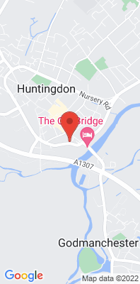 Map showing the location of the Huntingdon Pathfinder House monitoring site