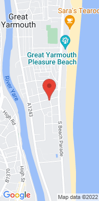 Map showing the location of the Great Yarmouth South Denes monitoring site