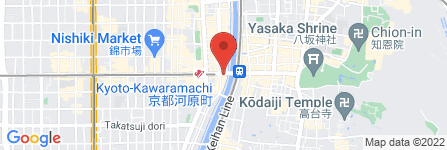 地図 半兵ヱ 京都四条大橋先斗町の道路をはさんで向かい店