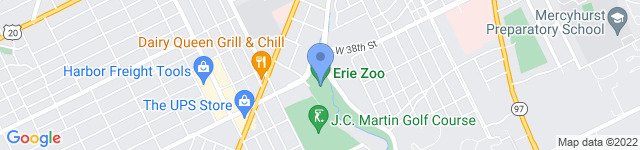 Erie Zoo is located at 423 West 38th Street, PO box 3268 , Erie, PA 16508
