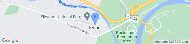 Ellwood National Forge is located at One Front Street, Irvine, PA 16329