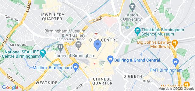 Map of The Studio, 7 Cannon Street, Birmingham, B2 5EP