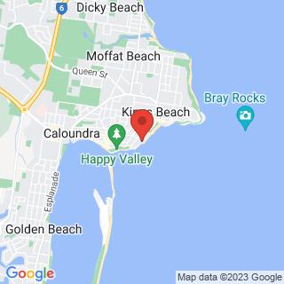 Surfing Caloundra Surf School Location Map