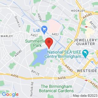 Wind Surfing Edgbaston, Birmingham Location Map
